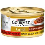 Gourmet Gold mit Rind & Huhn in Sauce mit Tomaten