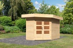 Karibu Gartenhaus Corner Cube, naturbelassen