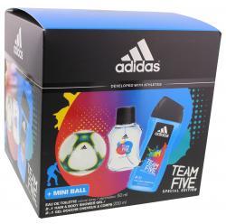 Adidas Team Five Eau de Toilette + 2in1 Hair & Body Shower Gel + Mini Ball  - 3607349694319