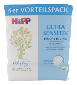Hipp Babysanft ultra sensitiv Feuchtt�cher  (4 x 52 St.) - 4062300082502