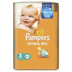 Pampers Simply Dry Gr. 3 Midi 4-9kg  (45 St.) - 4015400549710