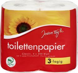 Jeden Tag Toilettenpapier 3-lagig  (4 x 200 Blatt) - 4306188345138