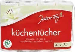 Jeden Tag Küchentücher Classic 3-lagig  (4 x 51 Blatt) - 4306188351306