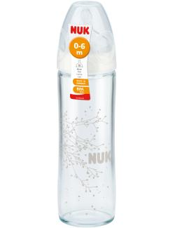 Nuk First Choice+ Glastrinkflasche mit Silikon Sauger Gr. 1/M  (240 ml) - 4008600217572