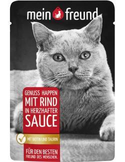 Mein Freund Katze Genuss Happen mit Rind in herzhafter Sauce  (100 g) - 4306188302483