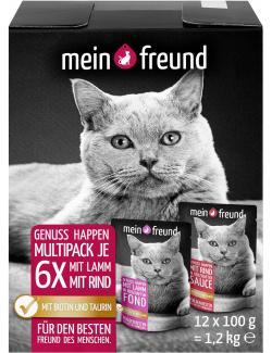Mein Freund Katze Genuss Happen Multipack Lamm und Rind  (12 x 100 g) - 4306188302605