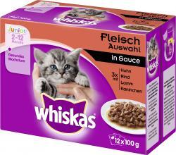 Whiskas Junior Fleisch Auswahl in Sauce  (12 x 100 g) - 4008429074097