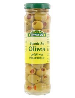 Feinkost Dittmann Spanische grüne Oliven gefüllt mit Paprikapaste  (85 g) - 4002239493000