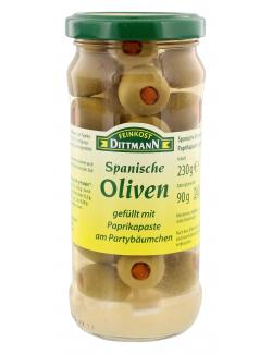 Feinkost Dittman Spanische grüne Oliven gefüllt mit Paprikapaste  (90 g) - 4002239482004