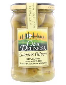 Feinkost Dittmann Casa Deliziosa Queens Oliven gefüllt mit Frischkäse  (150 g) - 4002239919302
