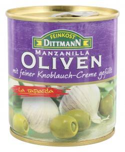Feinkost Dittmann Spanische grüne Oliven mit Knoblauch-Creme  (85 g) - 4002239443203
