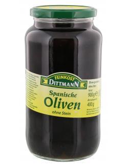 Feinkost Dittmann Spanische geschw�rzte Oliven ohne Stein  (400 g) - 4002239414500