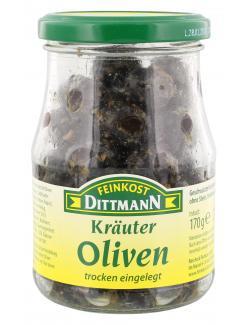 Feinkost Dittmann geschwärzte Kräuter-Oliven trocken eingelegt  (170 g) - 4002239429603