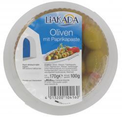 Liakada Grüne Oliven mit Paprikapaste  (100 g) - 4013200104160
