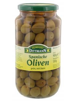 Feinkost Dittmann Spanische Oliven grün mit Stein  (550 g) - 4002239439008