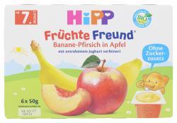 Hipp Fr�chte-Freund Banane-Pfirsich in Apfel  (6 x 50 g) - 4062300088696