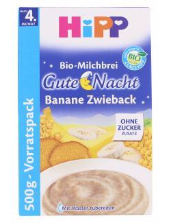 Hipp Bio Milchbrei Gute Nacht Banane-Zwieback  (500 g) - 4062300254374
