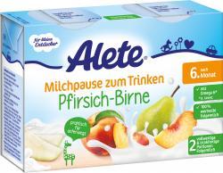 Alete Milchpause zum Trinken Pfirsich-Birne  (2 x 200 ml) - 4251099604648