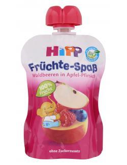 Hipp Fr�chte-Spa� Waldbeeren in Apfel-Pfirsich - MHD 02.12.2016  (90 g) - 4062300187641