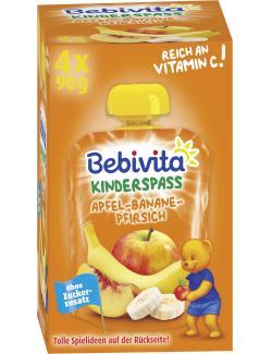 Bebivita Kinder Spaß Apfel-Banane-Pfirsich  (4 x 90 g) - 4018852017271