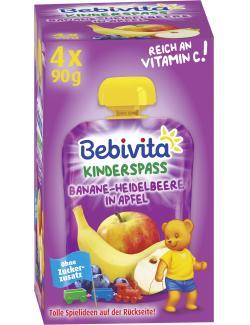 Bebivita Kinder Spa� Banane-Heidelbeere in Apfel  (4 x 90 g) - 4018852017301