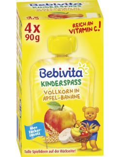Bebivita Kinder Spaß Vollkorn in Apfel-Banane  (4 x 90 g) - 4018852017240