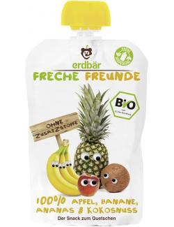 Erdbär Freche Freunde Fruchtmus Apfel-Banane-Ananas-Kokosnuss  (100 g) - 4260249140103