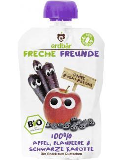 Erdbär Freche Freunde Fruchtmus Apfel-Blaubeere & Schwarze Karotte  (100 g) - 4260249140172