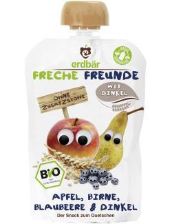 Erdbär Freche Freunde Fruchtmus Apfel-Birne-Blaubeere & Dinkel  (100 g) - 4260249140448