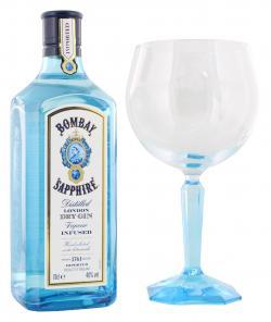 Bombay Sapphire London Dry Gin inkl. Gratis Glas  (700 ml) - 4013400509437
