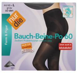 nur die Bauch-Beine-Po Strumpfhose 60 den Gr. 44-48 L grau  (1 St.) - 4003015005318