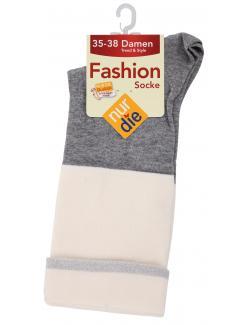 nur die Fashion Socke Gr. 35-38 weiß hellgrau  (1 St.) - 4003015019421