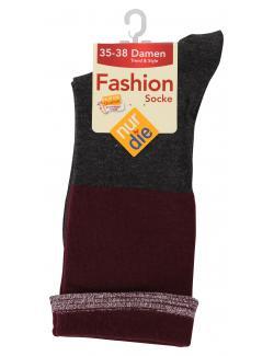 nur die Fashion Socke Gr. 35-38 bordeaux anthrazit meliert  (1 St.) - 4003015019445