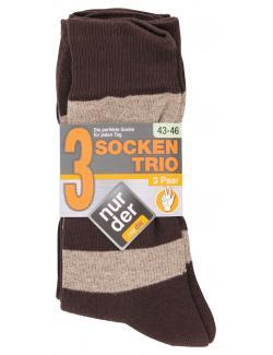 nur der Socken Trio Gr. 43-46 braun  (1 St.) - 4003015677416