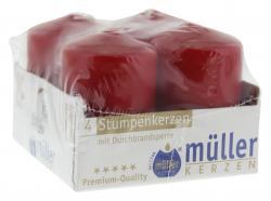 M�ller-Kerzen Stumpenkerzen karminrot  (4 St.) - 4009078070966