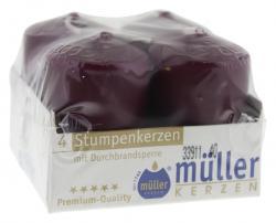 Müller-Kerzen Stumpenkerzen weinrot  (4 St.) - 4009078057271