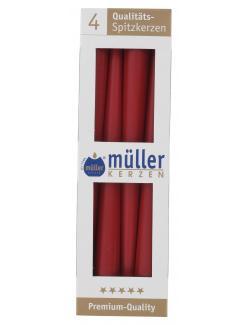 Müller-Kerzen Spitzkerzen karminrot  (4 St.) - 4009078037952