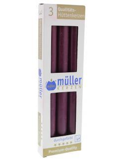 M�ller-Kerzen H�ttenkerzen weinrot  (3 St.) - 4009078550529