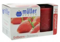 M�ller-Kerzen Duft-Votivlicht aromaticArt Erdbeere, H 4,2  (2 St.) - 4009078249836