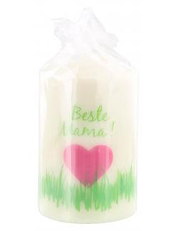 M�ller-Kerzen Stumpenkerze wei� - Beste Mama  (1 St.) - 4009078505253