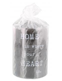 Müller-Kerzen Stumpenkerzen grau - Home is where your heart is  (1 St.) - 4009078506212