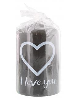 M�ller-Kerzen Stumpenkerzen grau - I love you  (1 St.) - 4009078506236
