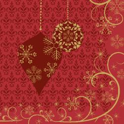 Duni Ornate X-mas Red Tissue-Servietten 24x24cm  (1 St.) - 7321011718191