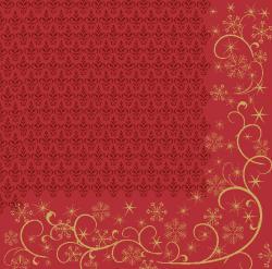 Duni Ornate X-mas Red Dunilin-Servietten 40x40cm  (12 St.) - 7321011718214