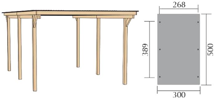 weka primus carport einzel carport kesseldruckimpr gniertes holz b 300 x t 500. Black Bedroom Furniture Sets. Home Design Ideas