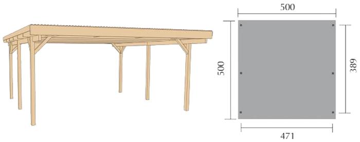 weka primus duo carport 500x500 doppel carport ebay. Black Bedroom Furniture Sets. Home Design Ideas