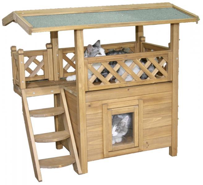 maxi pet lodge katzenhaus f r drau en ma e lxbxh 77 x. Black Bedroom Furniture Sets. Home Design Ideas