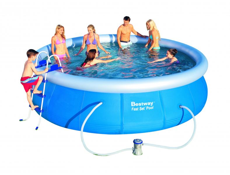 Bestway fast pool set mit filterpumpe 457x107 cm 57127 for Pool bestellen