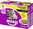 Whiskas 1+ Geflügel Auswahl in Sauce  <nobr>(12 x 100 g)</nobr> - 4008429010941