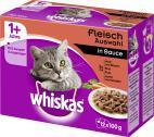 Whiskas 1+ Fleisch Auswahl in Sauce  <nobr>(12 x 100 g)</nobr> - 4008429010989